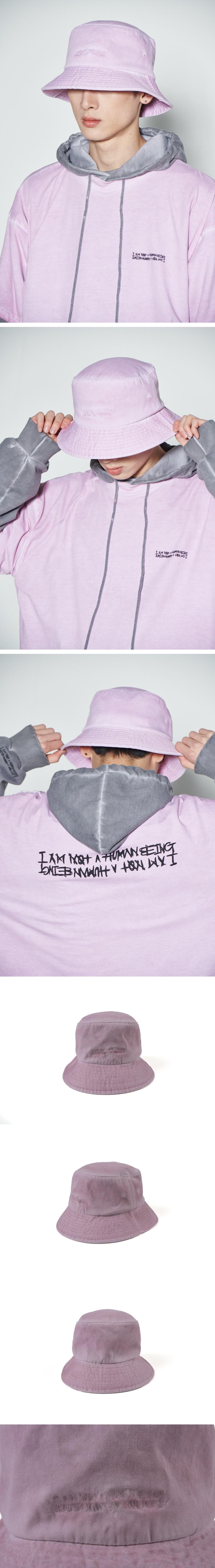 아임낫어휴먼비잉(I AM NOT A HUMAN BEING) Washed Bucket Hat (HAND MADE) - PINK
