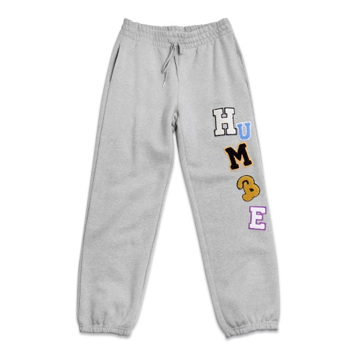 LOGOED PATCHWORK SWEAT PANTS - GREY