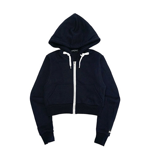 LOGO PATCHED CROP ZIP-UP HOODIE - NAVY
